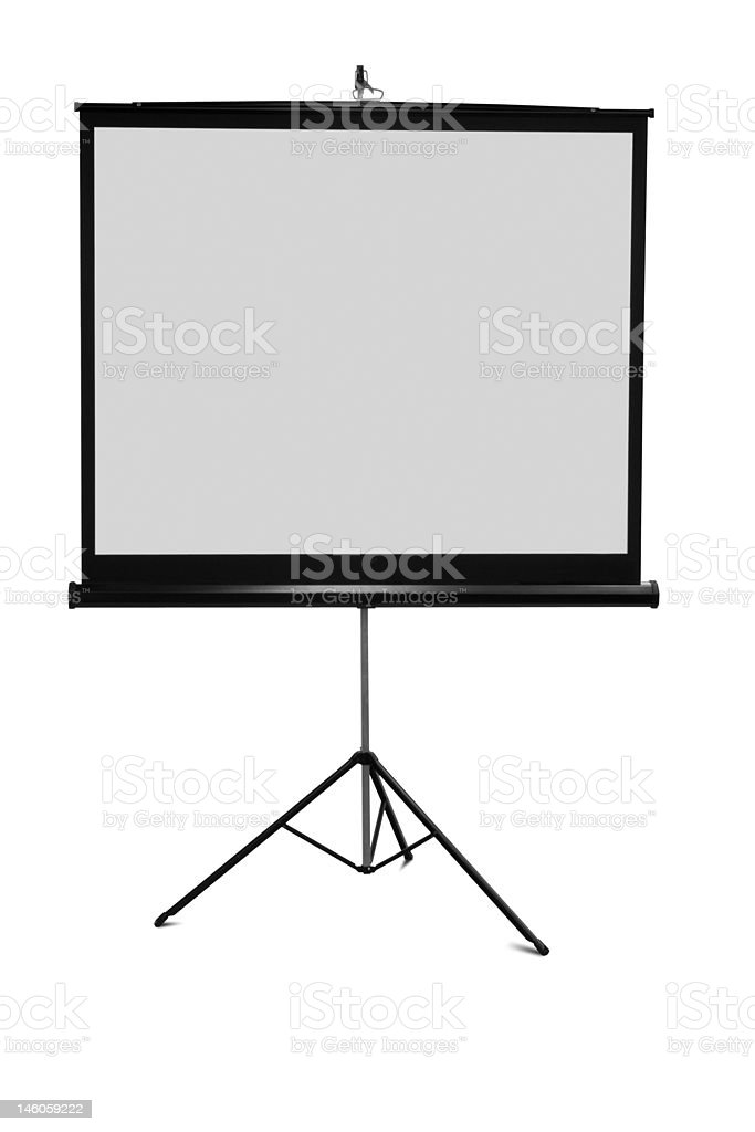 Portable tripod projection screen isolated on white royalty-free stock photo