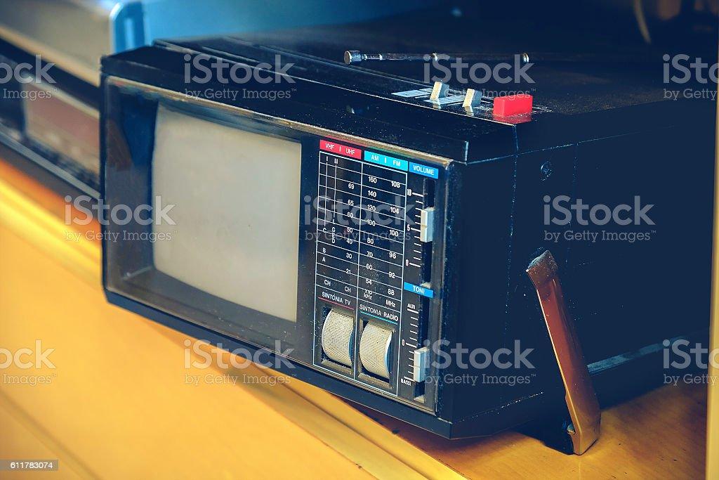 portable tv old retro vintage background stock photo