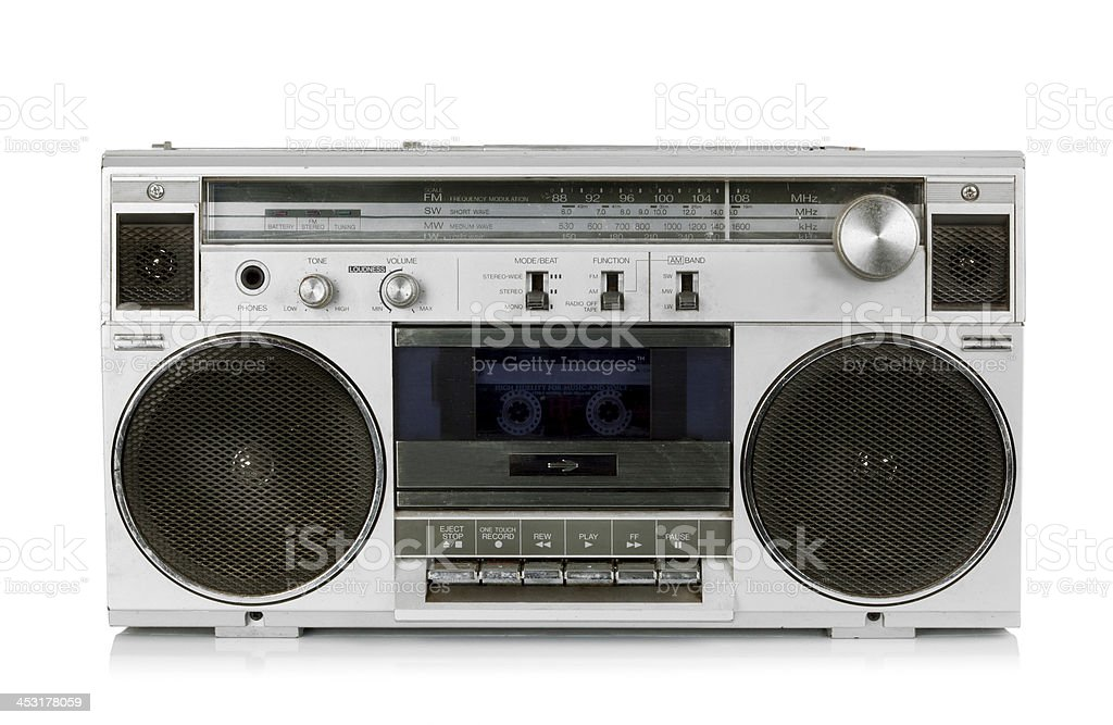 Portable vintage radio cassette recorder stock photo