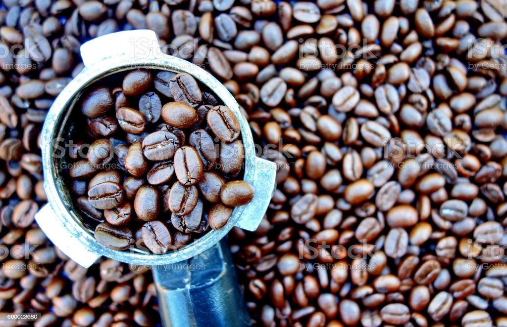 Portafilter handle with coffee beans stock photo