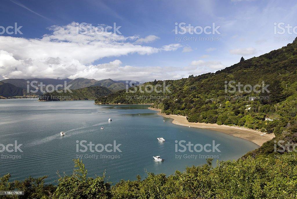 Portage Bay, Marlborough Sounds, South Island, New Zealand. stock photo