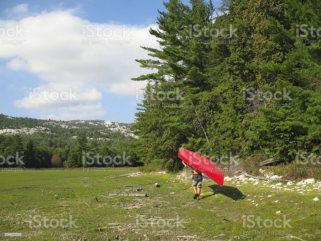 Portage by a Forest Edge stock photo