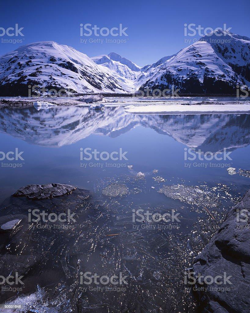 Portage Lake, Alaska, in early summer stock photo