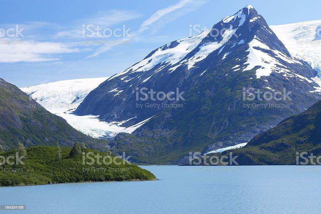 Portage Lake and Glacier in South-central Alaska stock photo