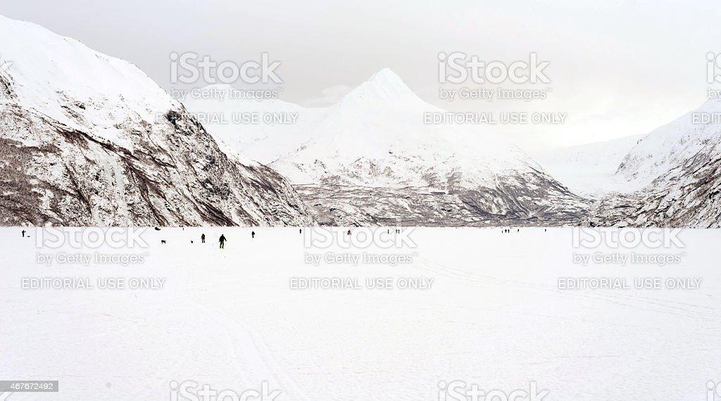 Portage Lake winter activity in Alaska stock photo