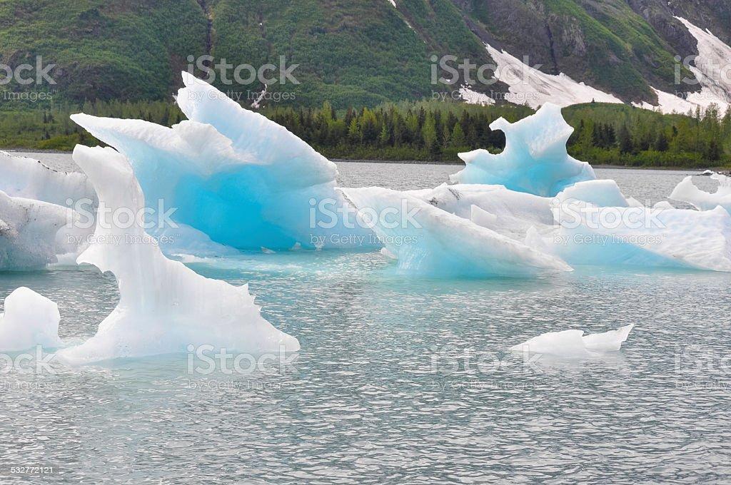Portage lake with icebergs, Alaska stock photo