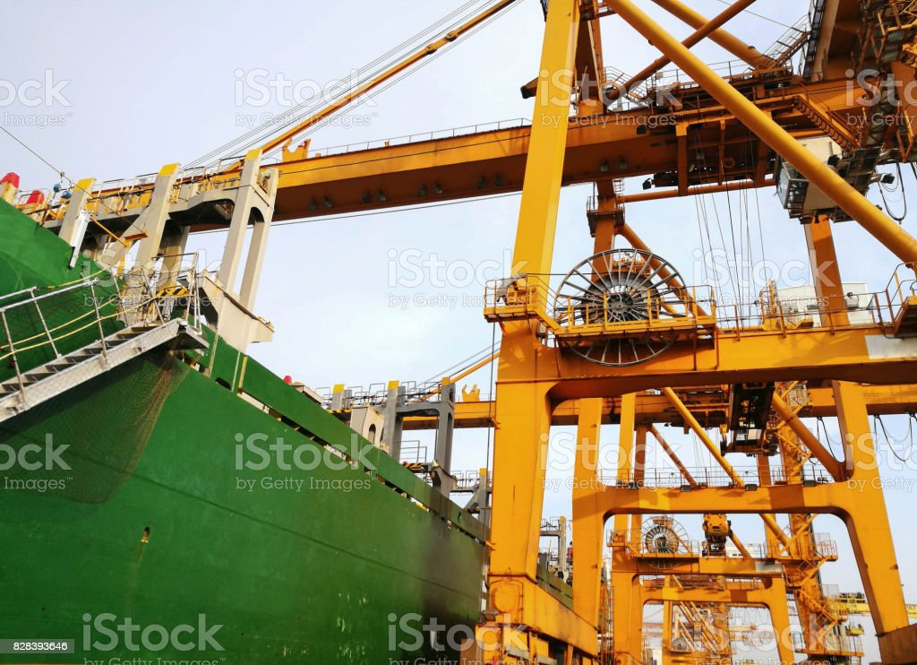 Portainer For Load and Unload From Container Ship stock photo