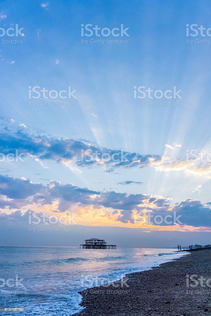 Portait frame sunset stock photo
