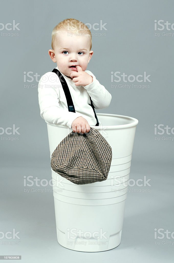 Portait of cute little boy with retro clothes stock photo