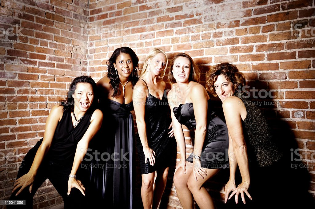 Portait of Five Well Dressed  Diverse Women in Black royalty-free stock photo