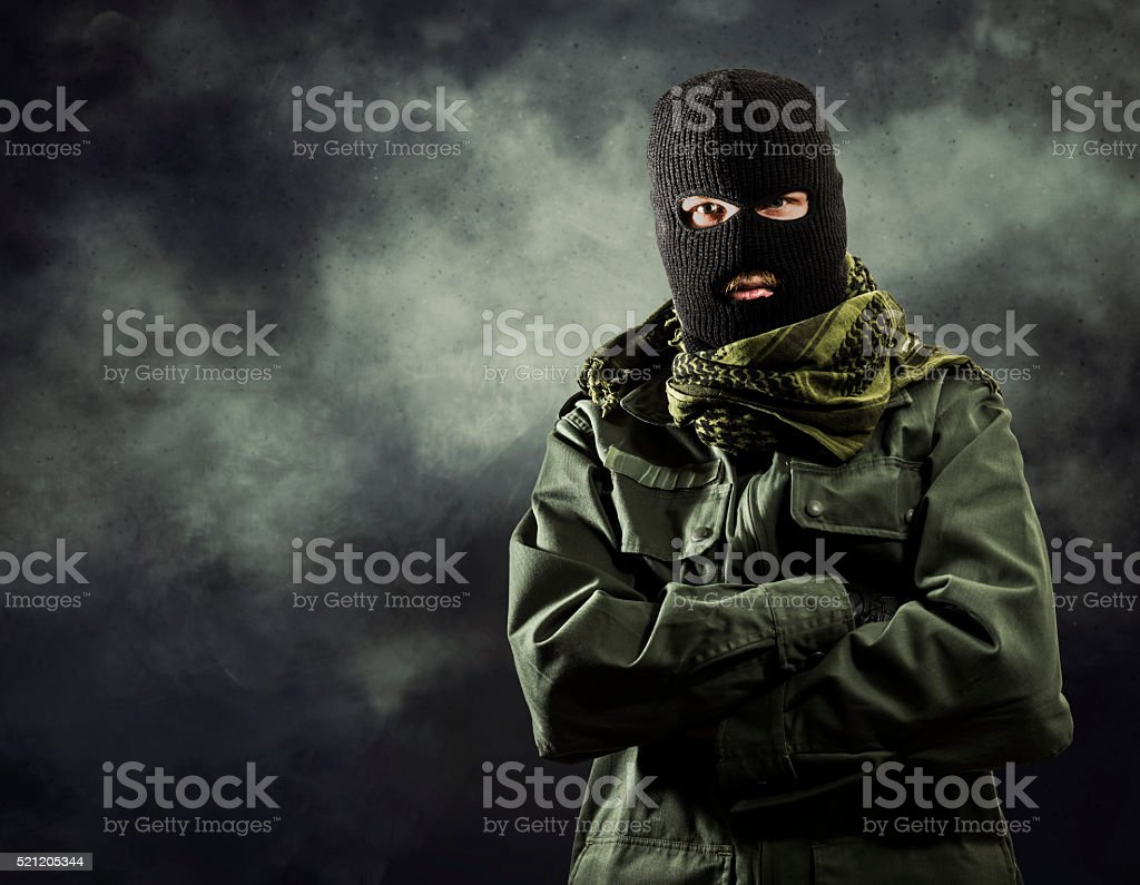 Portait of masked terrorist stock photo