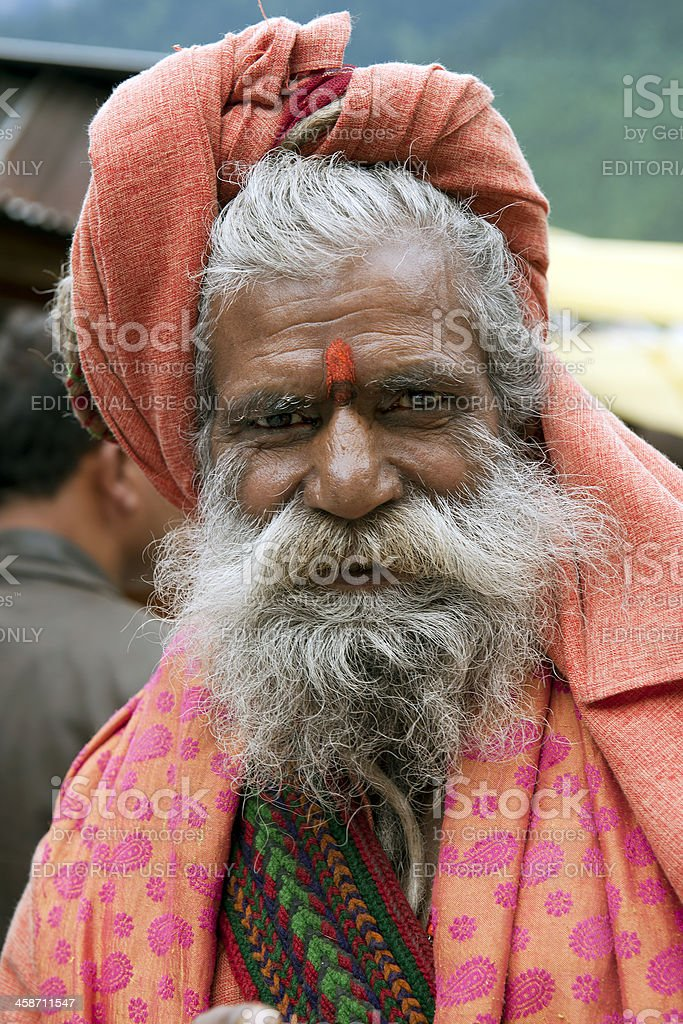 Portait of Sadhu in Manali India stock photo