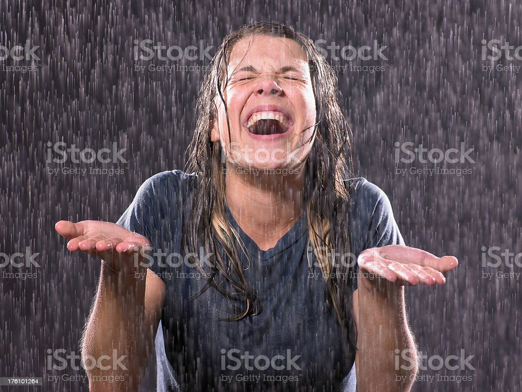 Portait of teenage girl in a rain royalty-free stock photo
