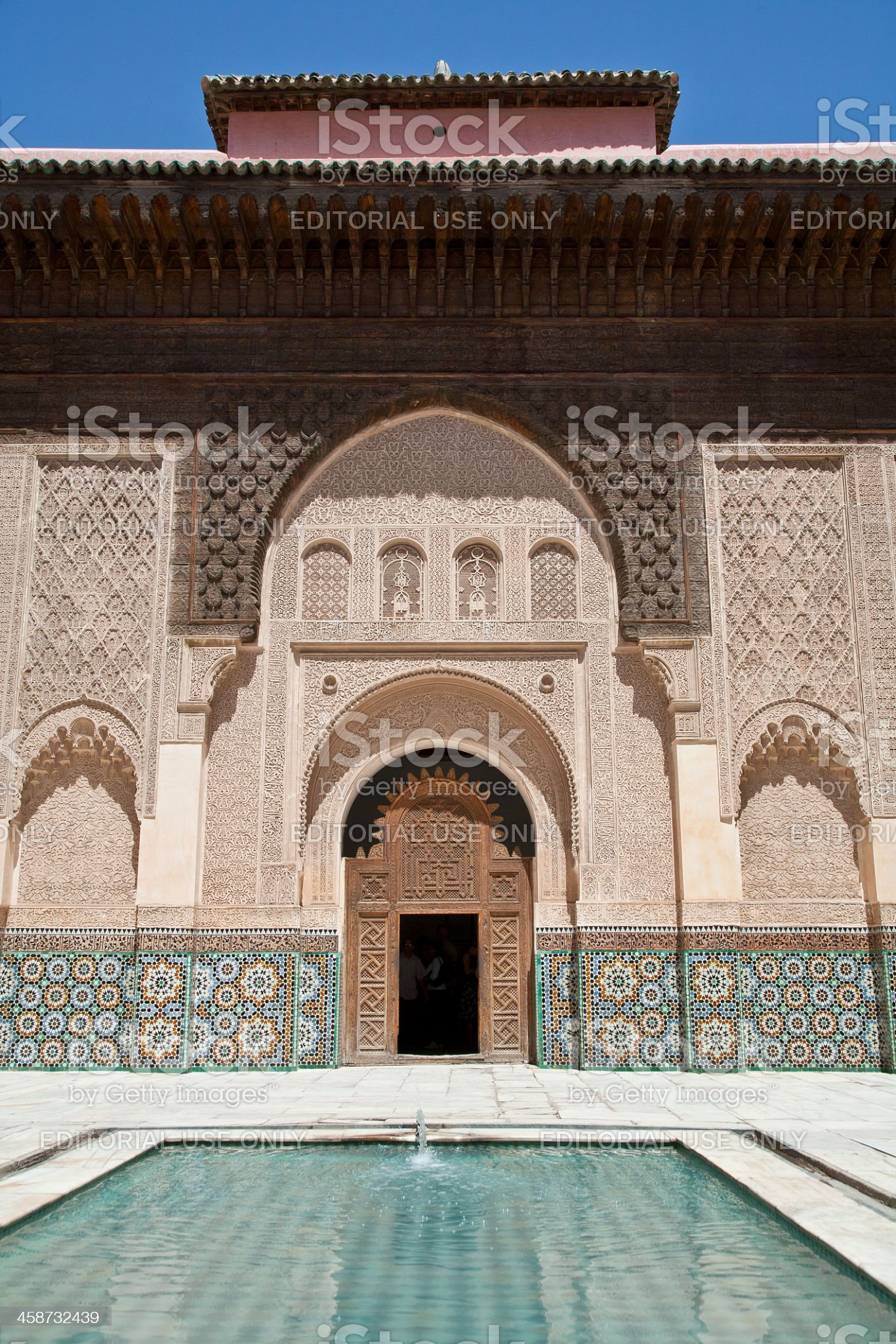 Portal in old building Ben Youssef at  Marrakech, Morocco. royalty-free stock photo