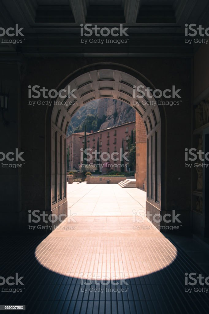 Portal in sunny day, hight contrast shadow stock photo