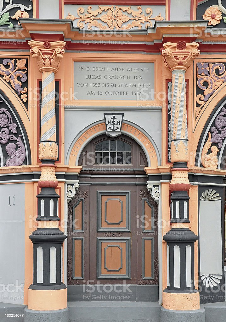 Portal of Cranach house in Weimar royalty-free stock photo