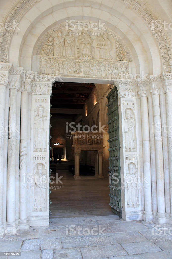 Portal of St. Clement Abbey stock photo