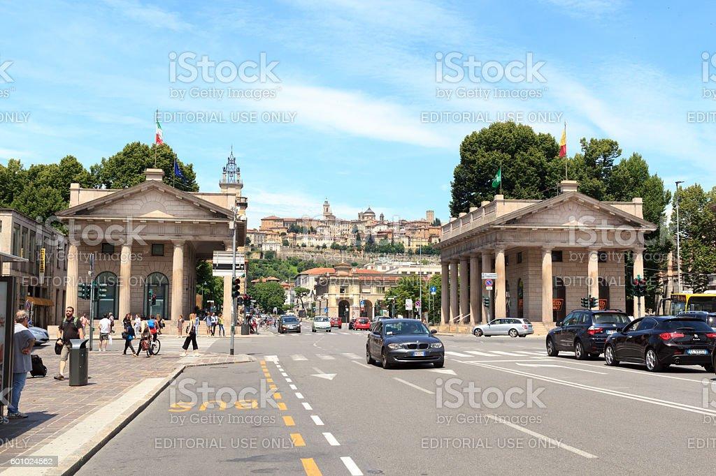 Portal Porta Nuova and upper city Citta Alta in Bergamo stock photo