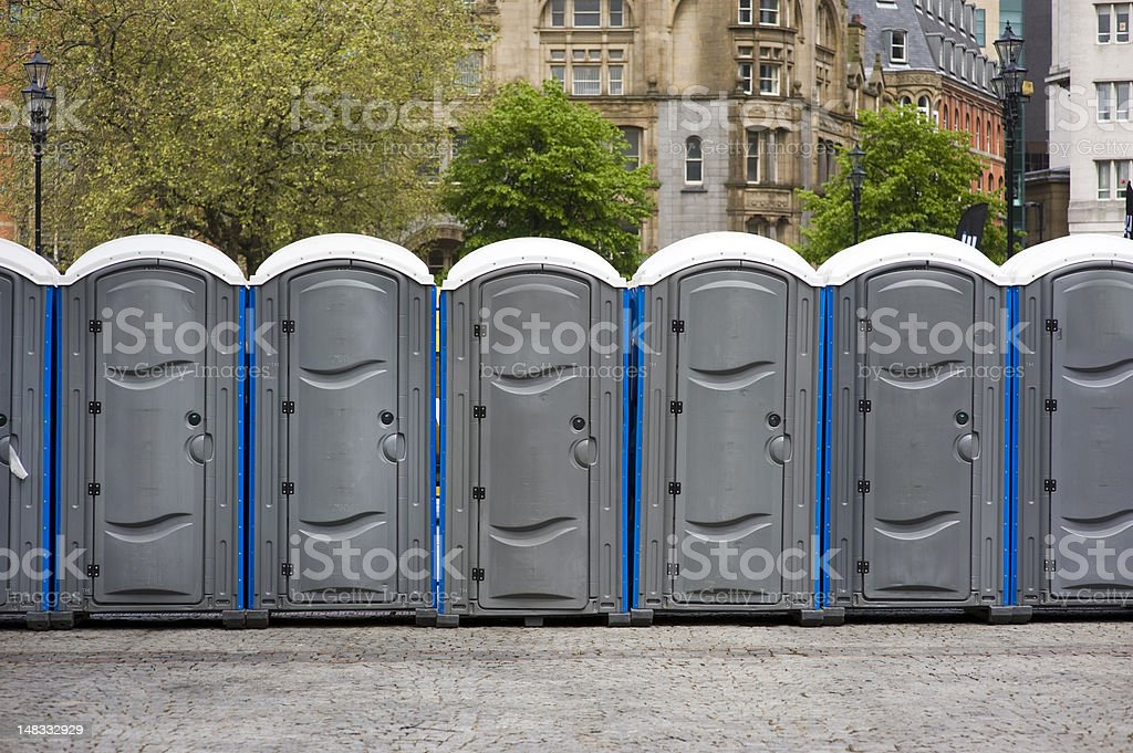 portaloos at an outdoor event stock photo