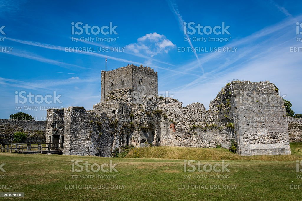 Portchester Castle, view of the inner bailey, Hampshire, England, UK stock photo