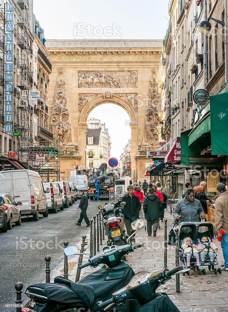 Porte Saint Denis in Paris stock photo
