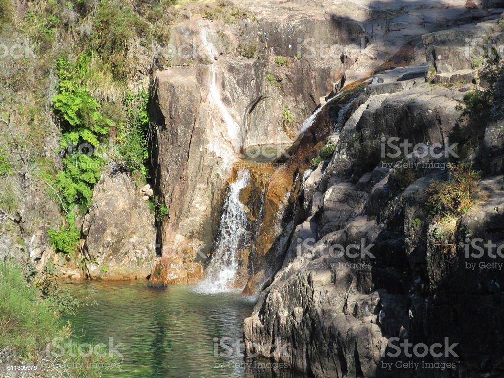 Portela da Homen waterfall stock photo
