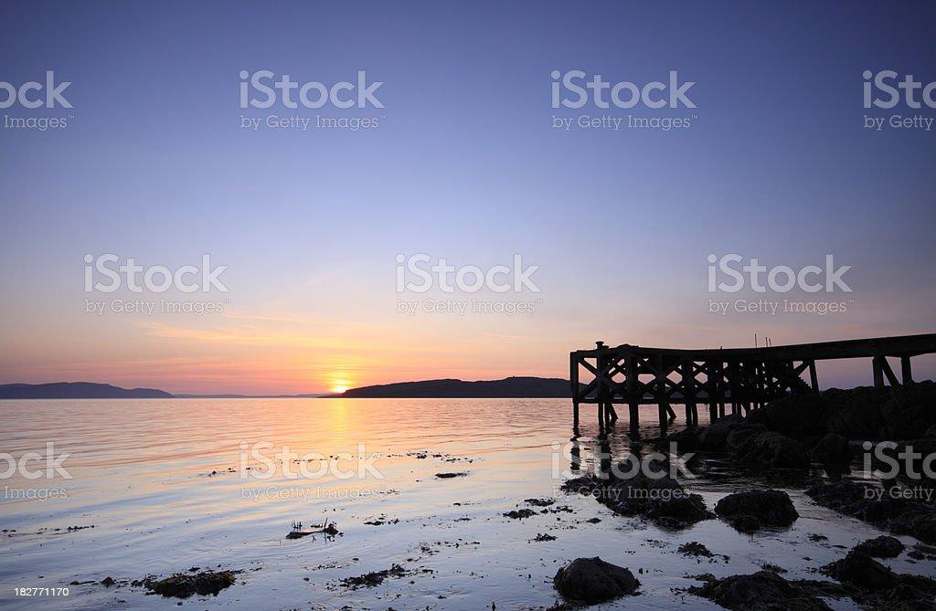 Portencross Sunset Ayrshire, Scotland. stock photo