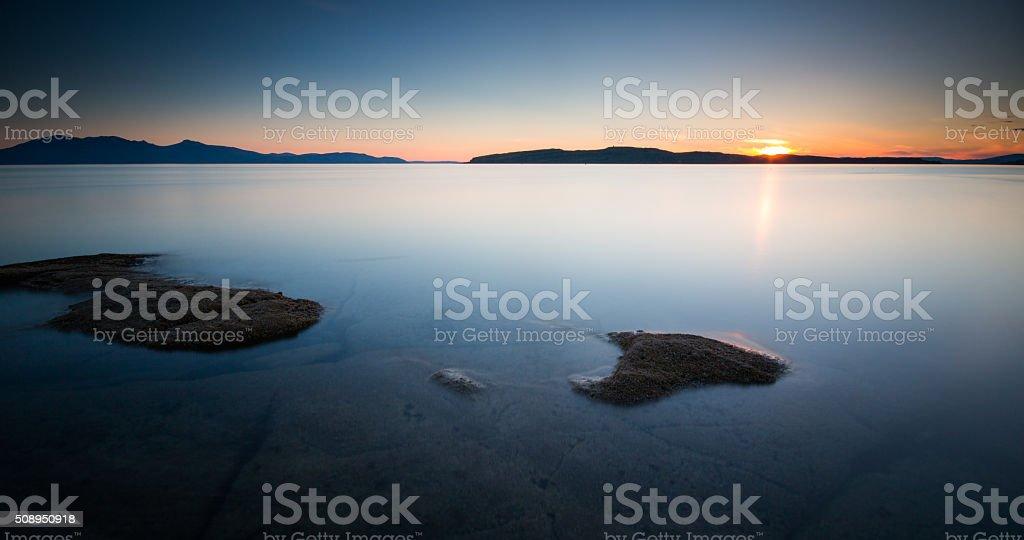 Portencross Sunset, Scotland. stock photo