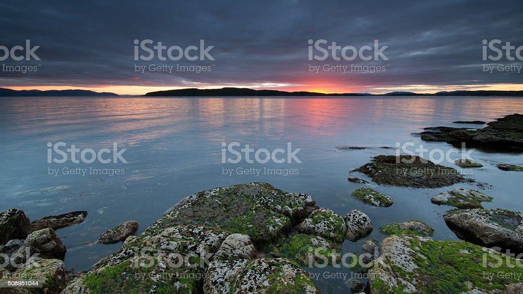 Portencross Sunset, Scotland stock photo