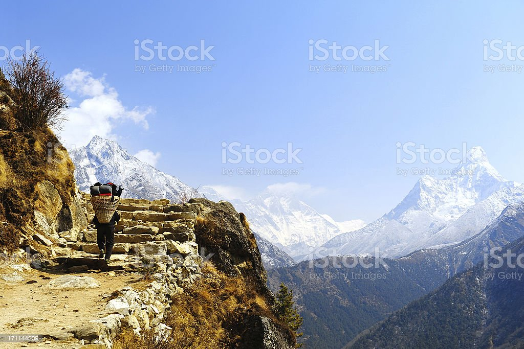 Porter & Mt. Everest, stock photo