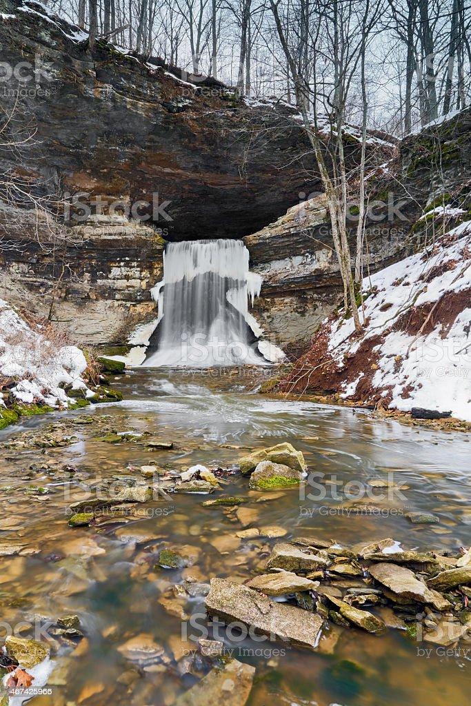 Porter Cave Falls in Winter stock photo