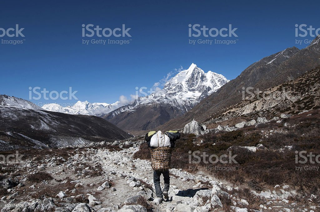 Porter & Mt. Everest stock photo