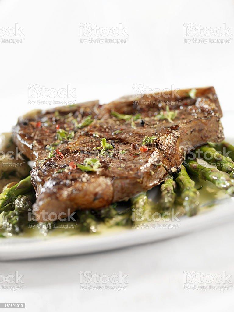 Porterhouse Steak with Asparagus royalty-free stock photo