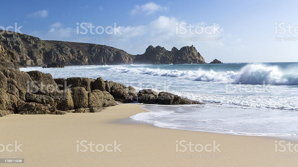 Porthcurno Cornwall stock photo