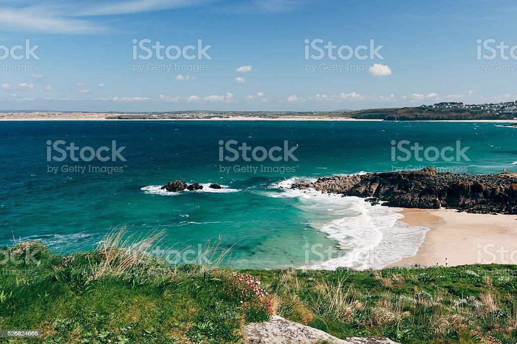 Porthgwidden beach in St Ives on coast of Cornwall stock photo