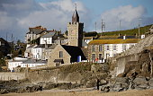 Porthleven buildings taken from the beach; Cornwall