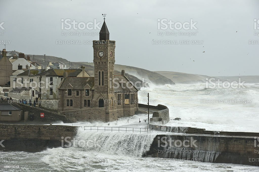 Porthleven Cornwall at the harbour during a storm stock photo