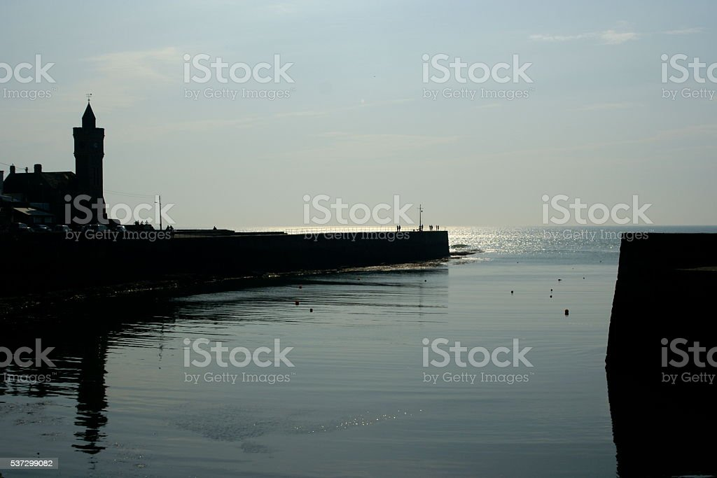 Porthleven harbour, Cornwall, at rest stock photo