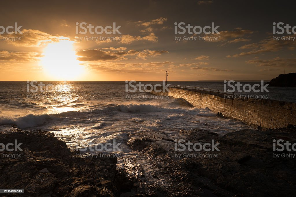 Porthleven Harbour Wall. stock photo