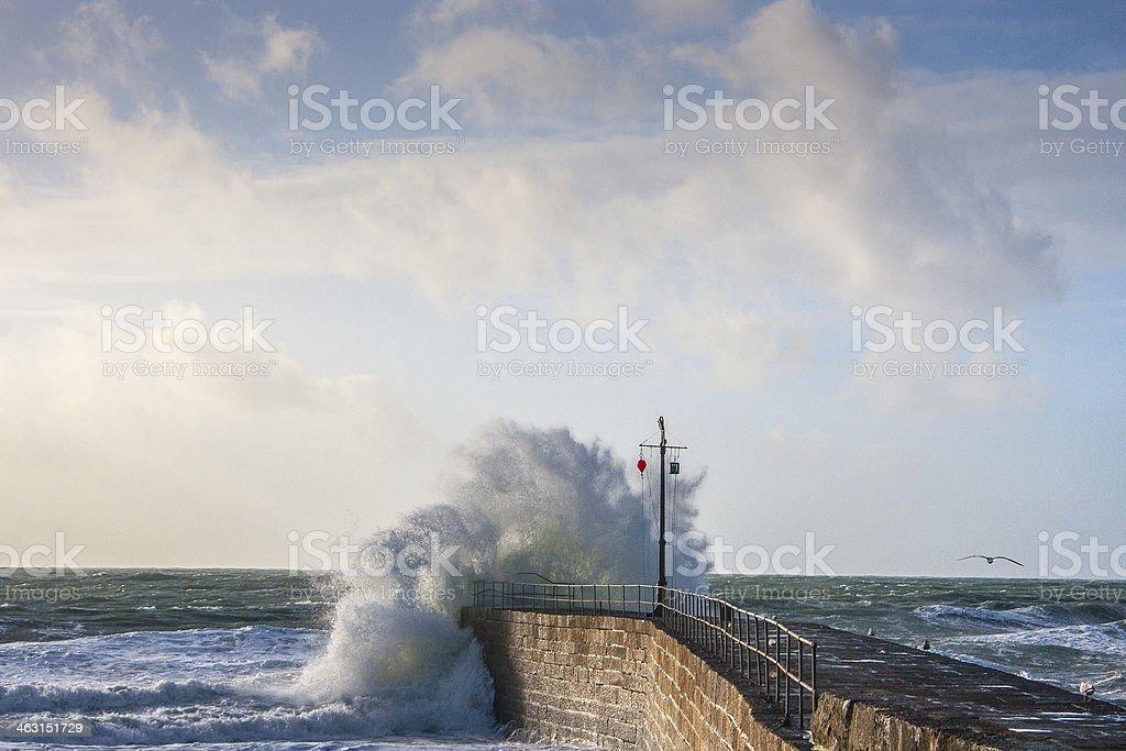 Porthleven wave stock photo