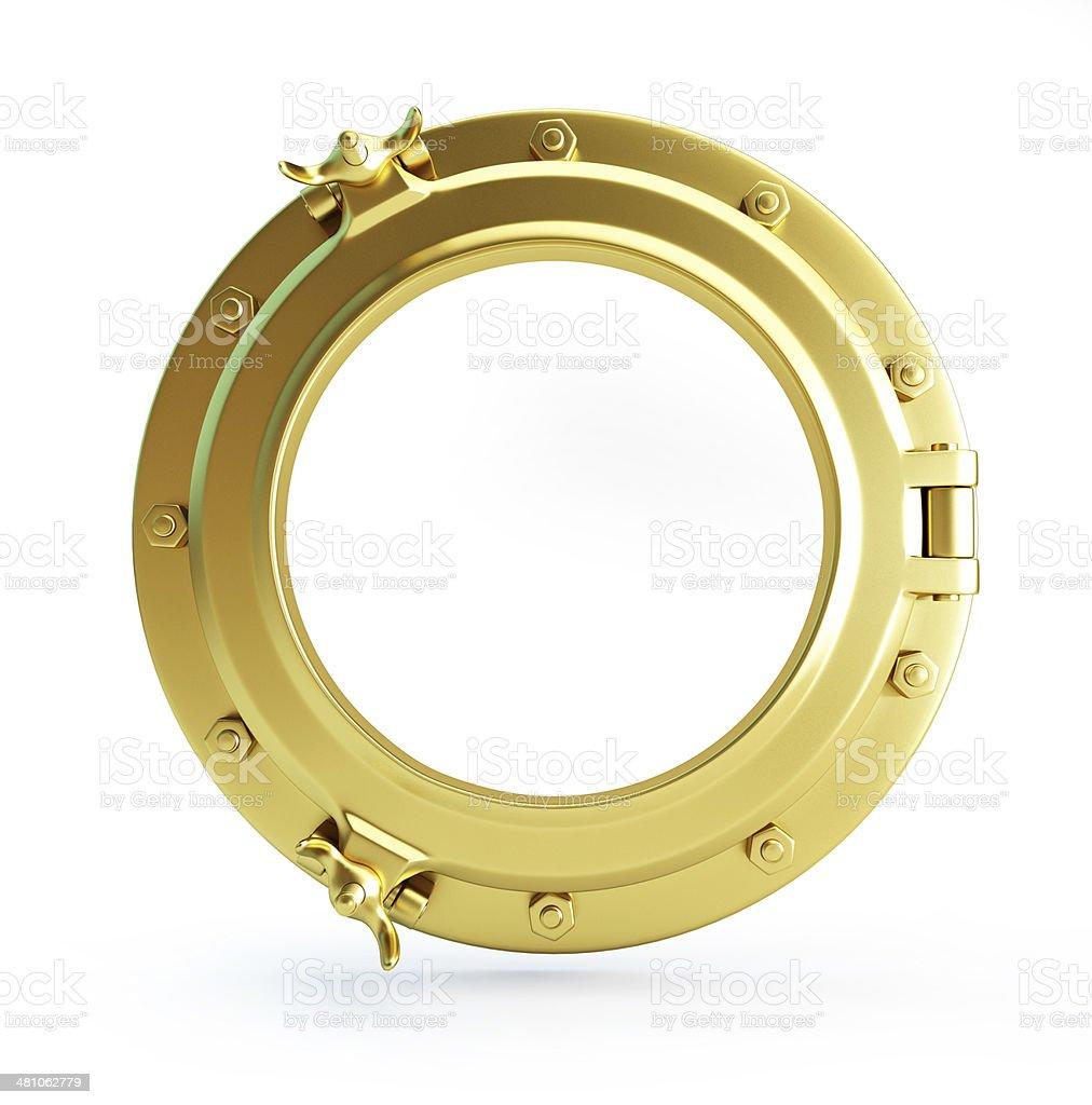 porthole gold stock photo