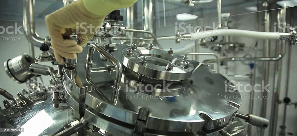 Porthole of a lyophilization tank . stock photo