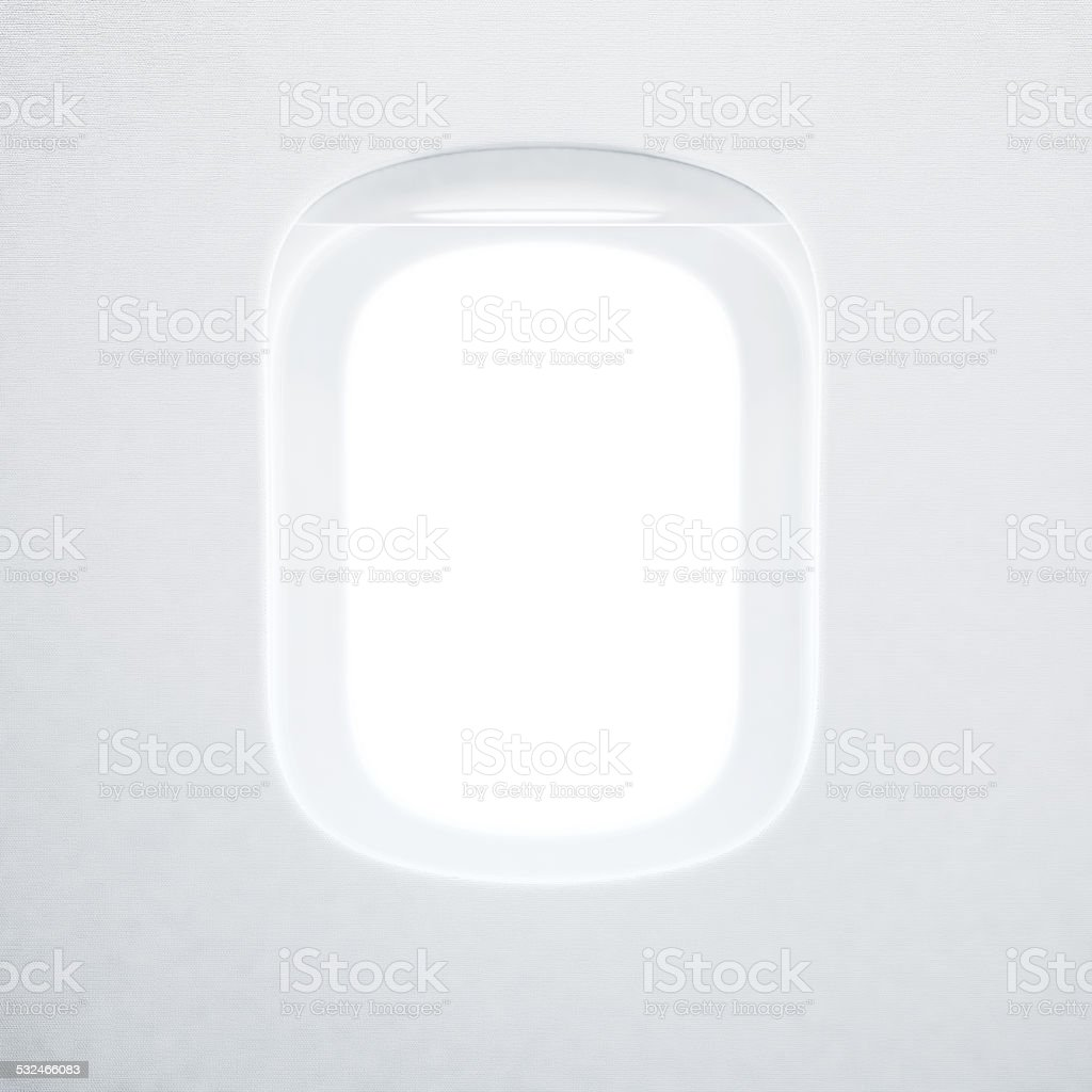 Porthole of the airplane stock photo