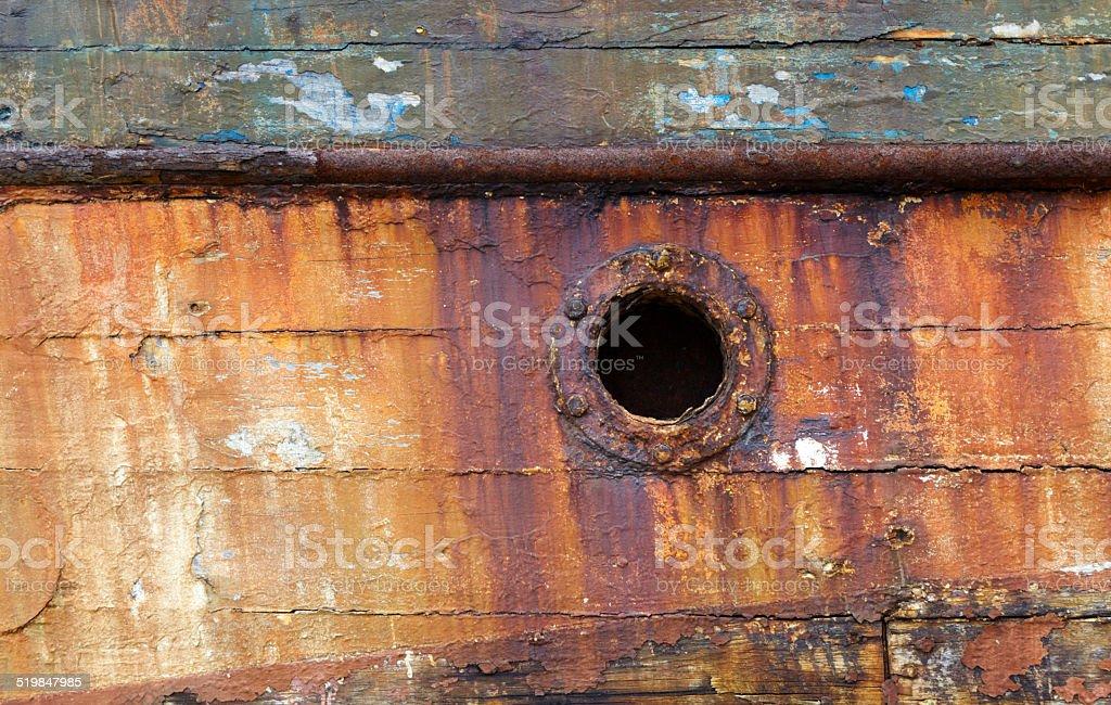 Porthole, Ruined Fishing Boat. stock photo