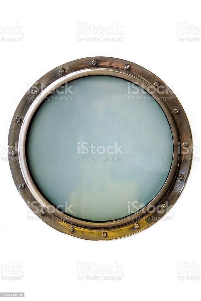 A porthole window isolated on a white background stock photo
