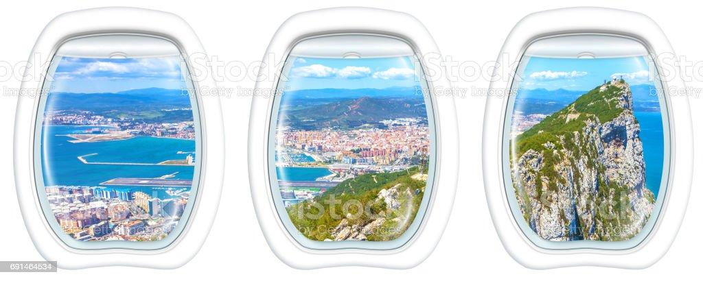 Porthole windows on Gibraltar Rock stock photo
