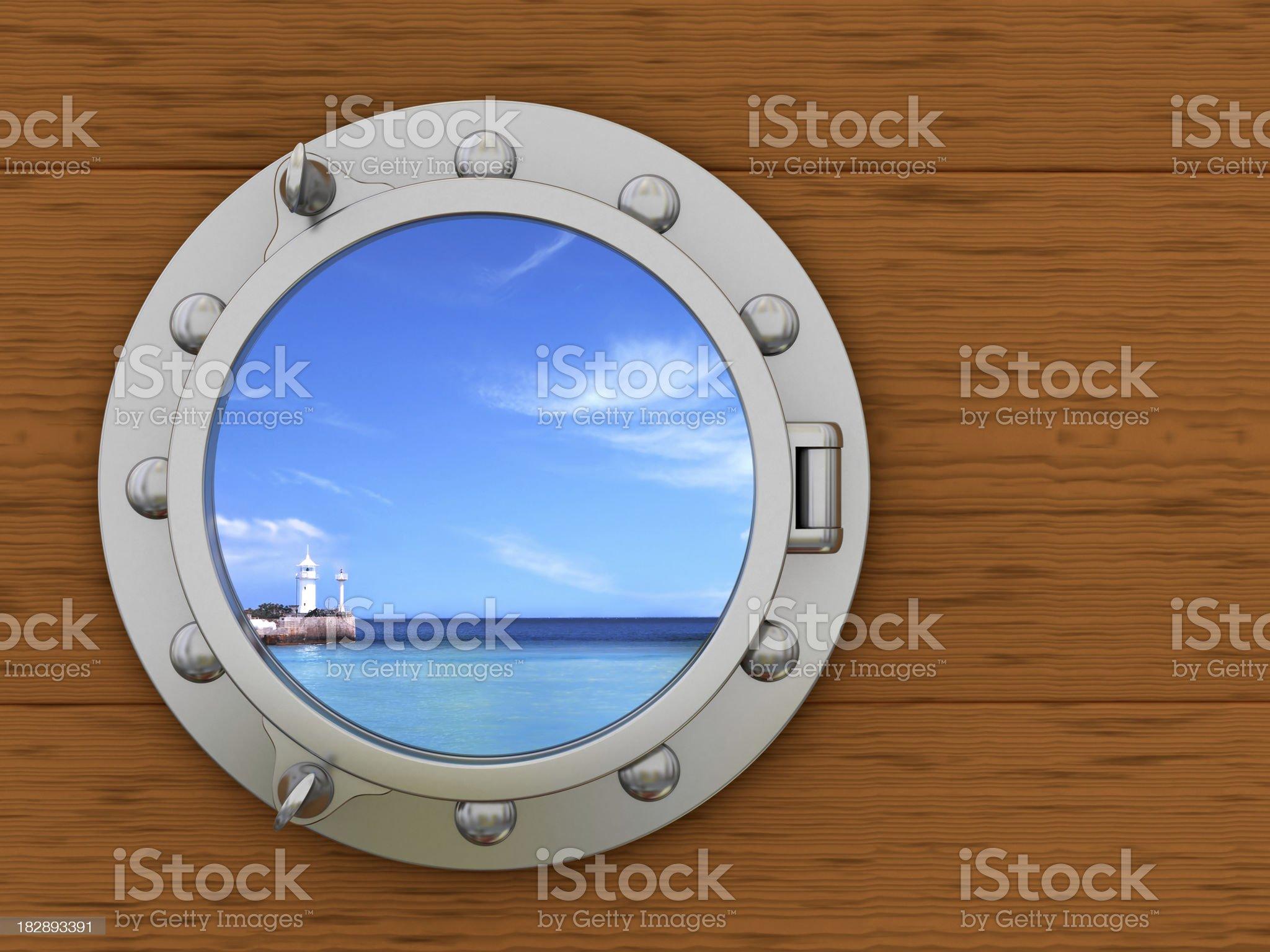Porthole with seascape outside royalty-free stock photo