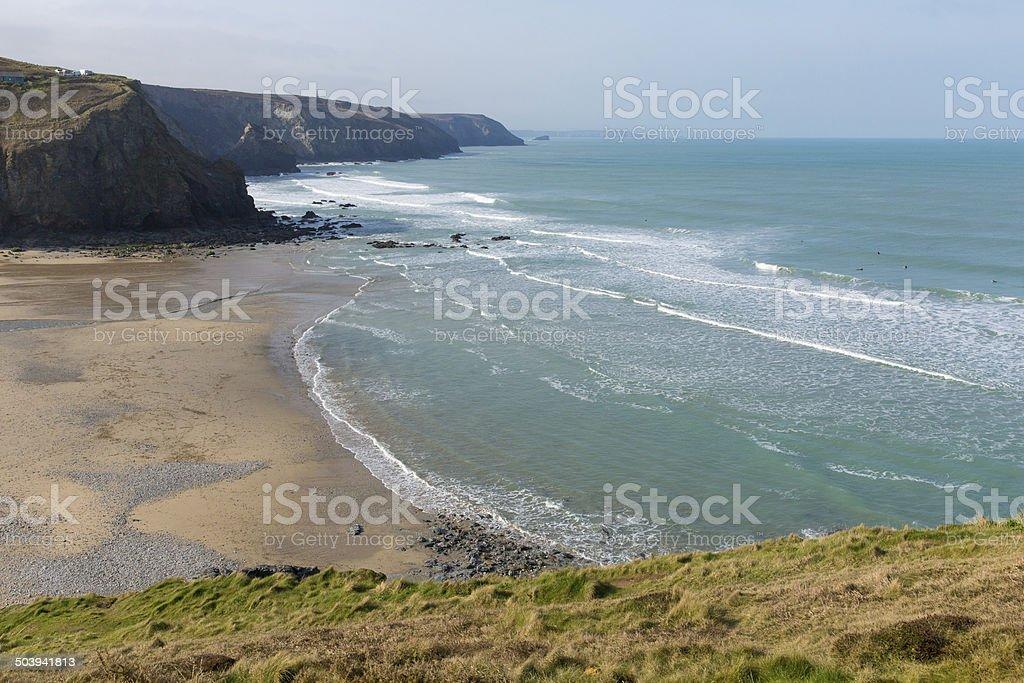 Porthtowan beach and coast near St Agnes Cornwall England UK stock photo