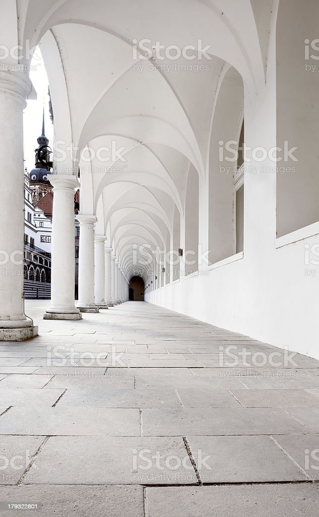 Portico at Stables Yard in Dresden Old Town stock photo
