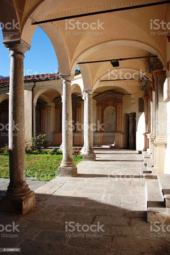 Portico of Church Virgin Mary Assumption in Mergozzo, Piemonte Italy stock photo